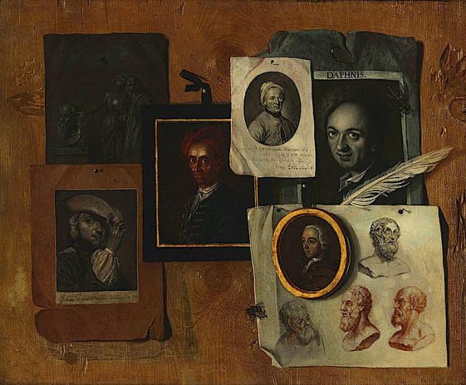 Quodlibet mit Bildnissen von Zeitgenossen und antiken Köpfen, Öl auf Leinwand von Johann Caspar Füssli, 1757