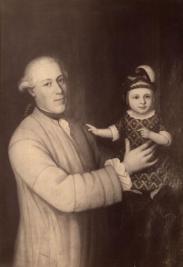 Johannes Zellweger mit seinem ältesten Sohn gleichen Namens, fotografische Reproduktion eines Ölgemäldes  von ca. 1766 in der Zellweger-Wohnung im Fünfeckpalast, ca. 1890