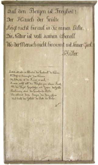Holztafel, Inschrift am Lusthäuschen im Garten des Honnerlag Palastes, Niedern, Trogen, um 1821/22
